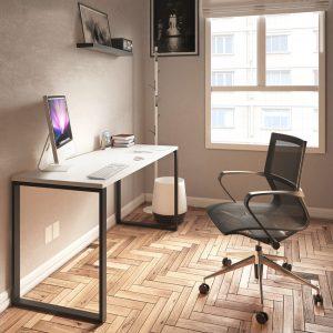 Escritorio Odesk, escritorio para home office, escritorio para casa, escritorio minimalista, escritorio moderno, escritorio con patas metálicas, escritorio con cajonera, escritorio sencillo, muebles para home office